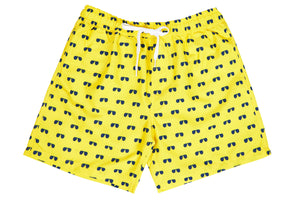Mens - Yellow and Navy Aviator Print Matching Swim Shorts