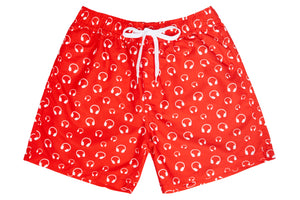 Mens - Red and White Headphone Print Matching Swim Shorts