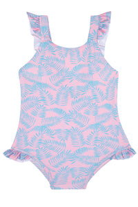 Girls - Pink and Turquoise Palm Leaf Swimming Costume