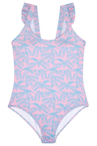 Ladies Pink and Turquoise Palm Leaf Swimming Costume