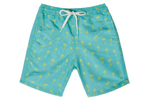 Boys - Green and Yellow Palm Tree Print Matching Swim Shorts