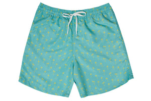 Mens - Green and Yellow Palm Tree Print Matching Swim Shorts
