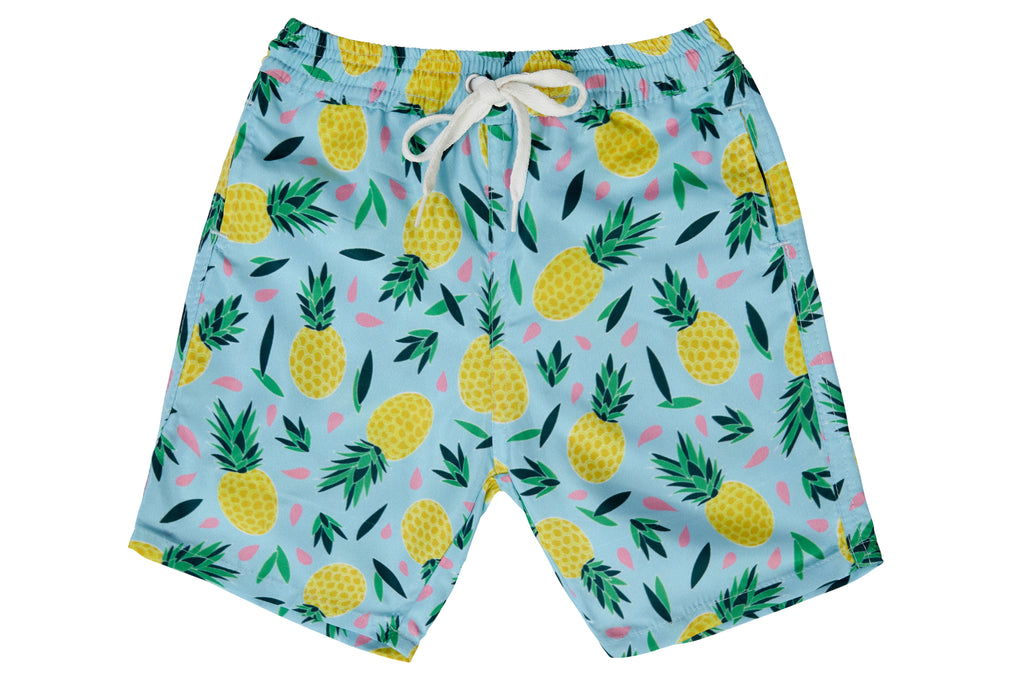 Boys - Multi Colour Pineapple Print Matching Swim Shorts