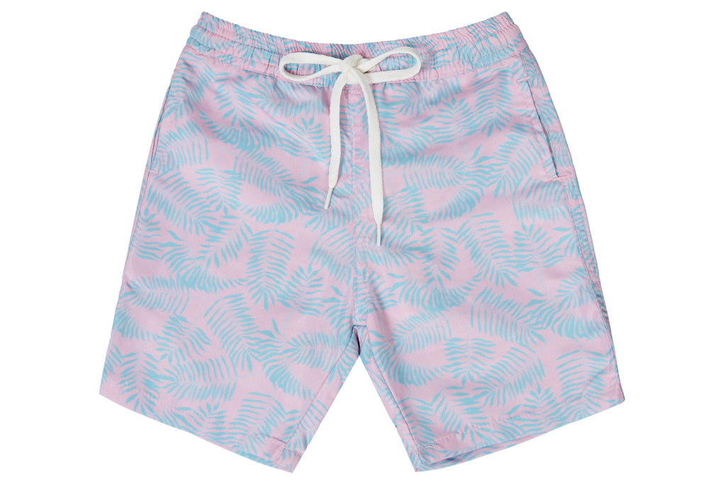 Boys - Pink and Turquoise Palm Leaf Print Matching Swim Shorts
