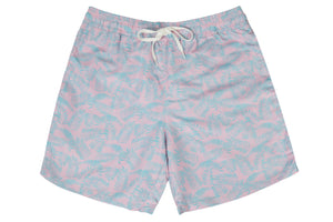 Mens - Pink and Turquoise Palm Leaf Print Swim Shorts