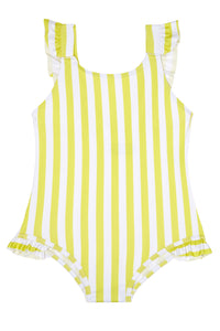 Girls - Yellow and White Stripe Swimming Costume