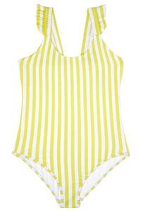 Ladies - Yellow and White Stripe Swimming Costume
