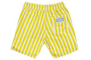 Boys - Yellow and White Stripe Print Matching Swim Shorts