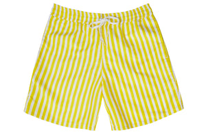 Boys - Yellow and White Stripe Print Matching Swim Shorts with minor faults