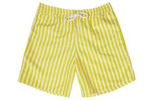 Mens - Yellow and White Stripe Print Matching Swim Shorts with minor faults