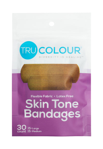 Tru-Colour Skin Tone Bandages: Dark Brown Single Pack (30-Count; Purple Bag)