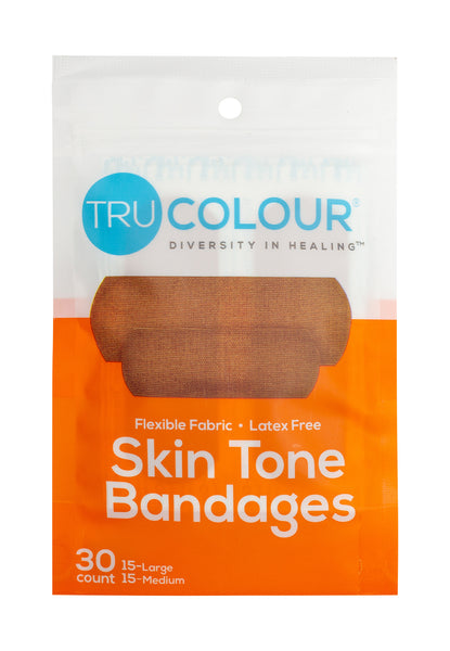 Tru-Colour Skin Tone Bandages: Brown-Dark Brown Single Pack (30-Count; Orange Bag)