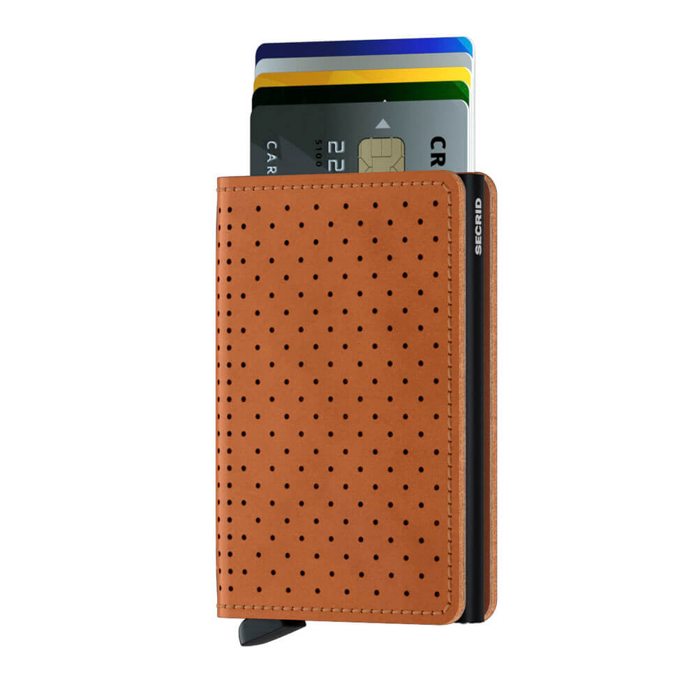Load image into Gallery viewer, Secrid Slimwallet Perforated Cognac