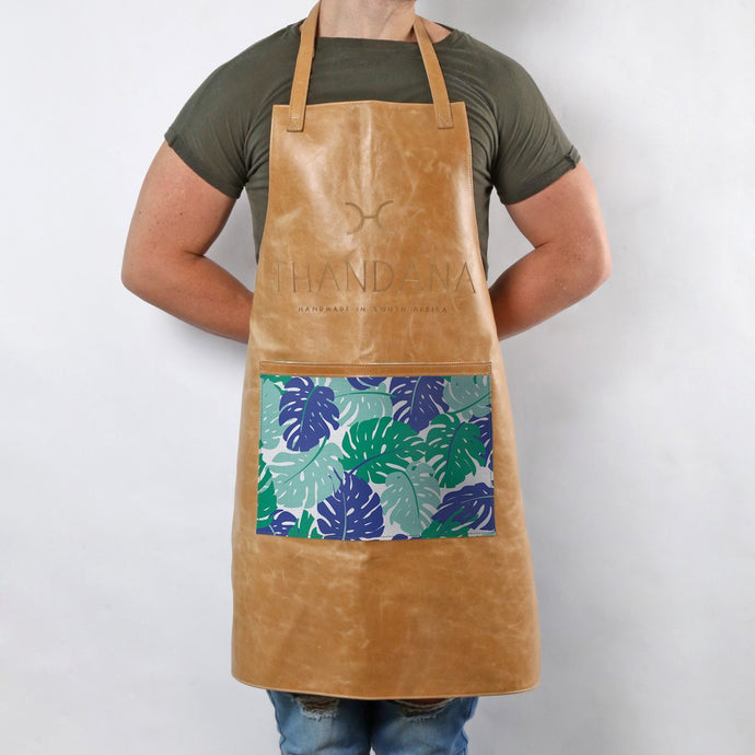 Leather Apron with Fabric Pouch