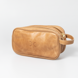 Double Gold Zip Vanity Leather