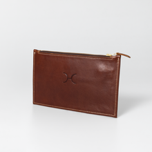 Double Gold Zip Pouch Purse Leather