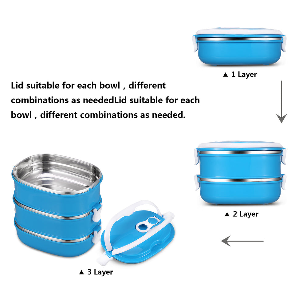 Portable Travel Food - Stainless Steel (3 Layers)