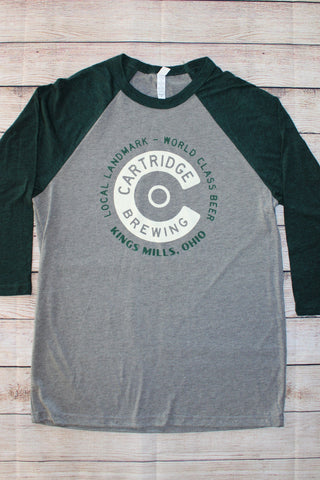 Raglan Baseball T - Cartridge Cream C Logo (Grey/Dark Green)