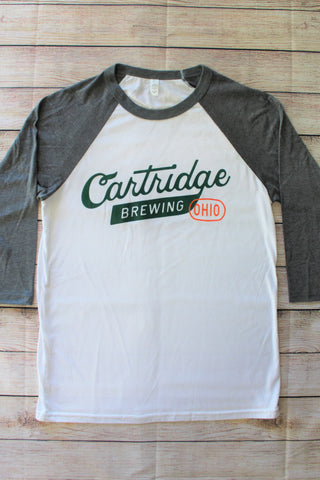 Raglan Baseball T - Cartridge Script Logo (White/Grey)