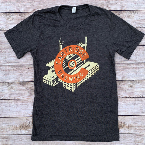 Factory with Orange C Logo Grey Unisex Tee