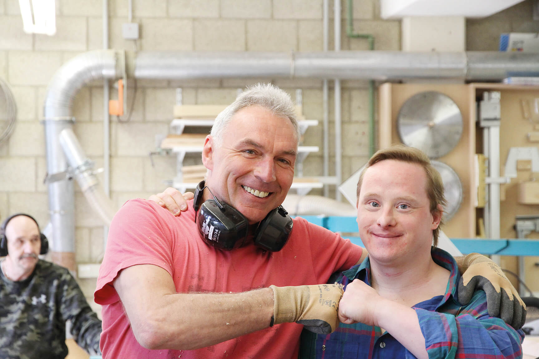 Two employees from Metalog Tools, which uses skilled workers with disabilities to make its award-winning and sustainable training tools