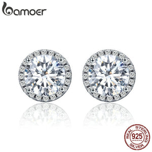 BAMOER Authentic 100% 925 Sterling Silver Dazzling Clear CZ Small Stud  Earrings for Women Wedding 4192bdaa1a70