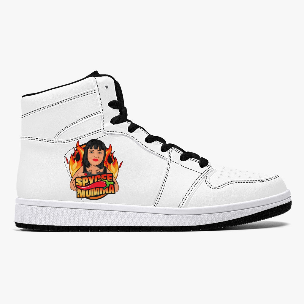 smom High-Top Leather Sneakers - White / Black