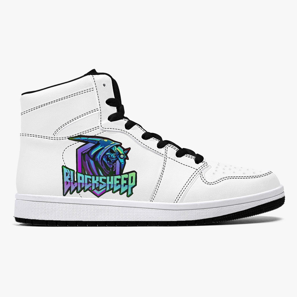 blksh High-Top Leather Sneakers - White / Black
