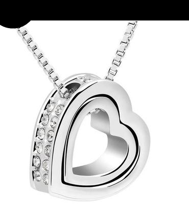 agd- DOUBLE HEART WHITE GOLD PENDANT