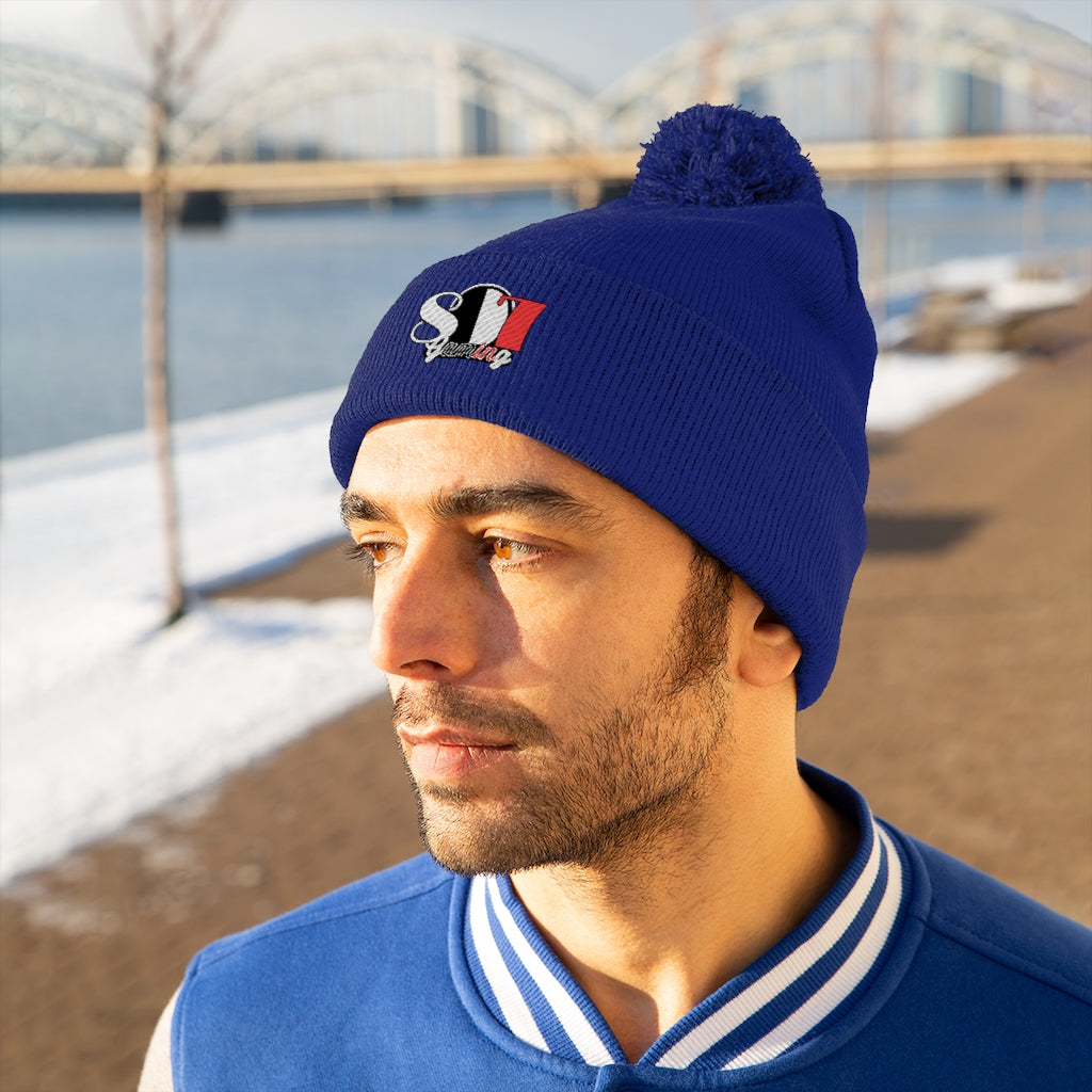 t-807 EMBROIDERED POM POM BEANIE