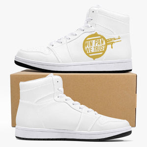 pan High-Top Leather Sneakers - White / Black