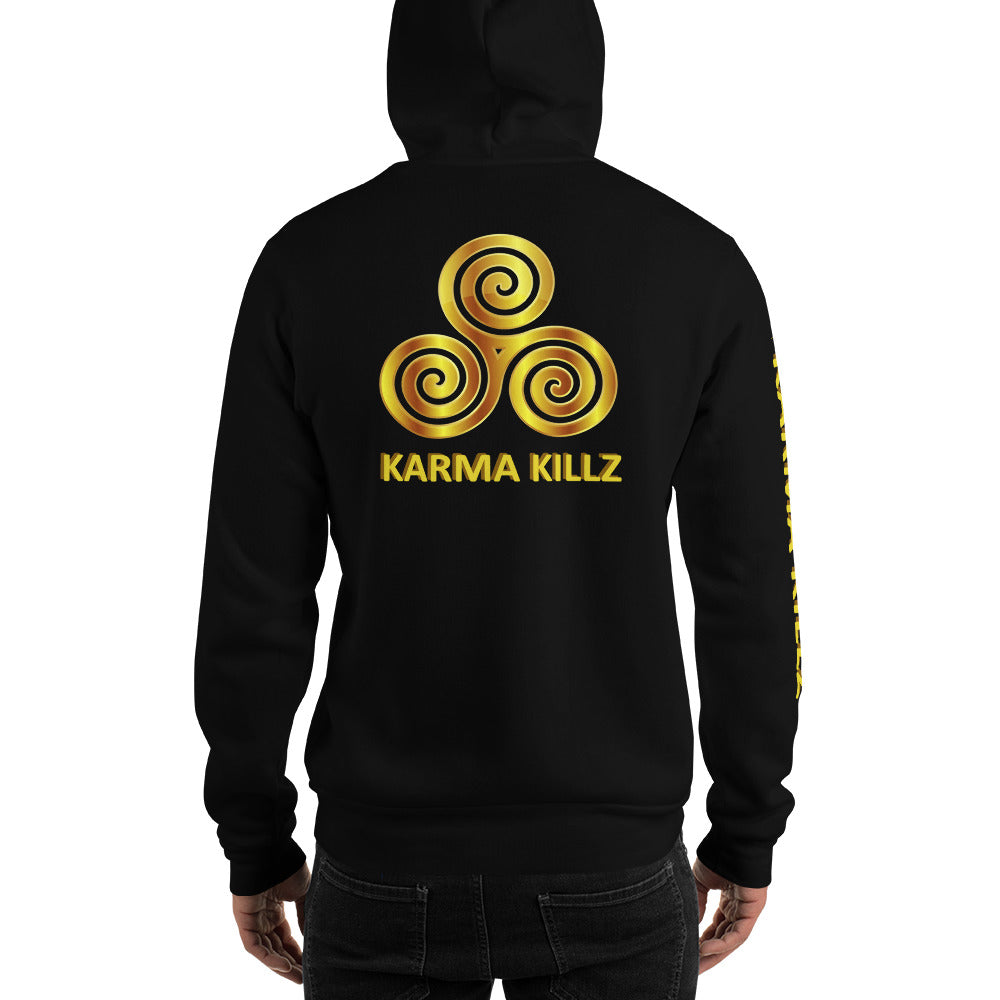 s-kk HOODIE front, back, sleeve text
