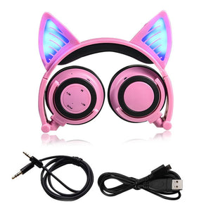 Cat Ear Bluetooth Headphone Foldable Cosplay Stereo Headset Earphone With Mic