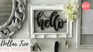 Happy Saturdayyy! In this tutorial I will be showing you guys how I transformed a Dollar Tree Frame into a super cute, shabby chic key holder