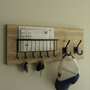 Simply Rustic Mail Organizer with Wire Basket and Coat Key Hooks by KeoDecor
