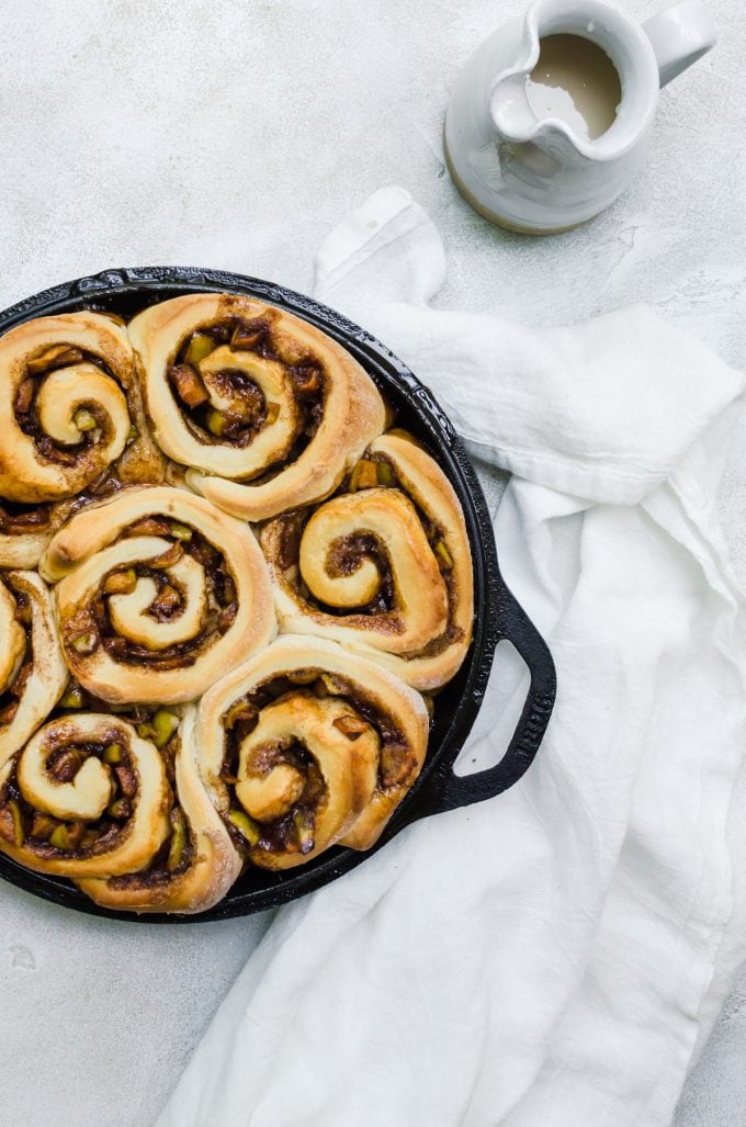 Super fluffy apple cinnamon rolls filled with a caramel apple filling
