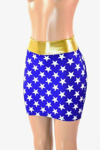 Contemporary Blue Skirt With White Stars