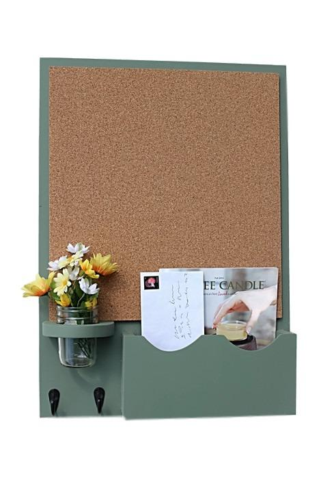 Cork Board Mail Organizer with Large Slot, Key Hooks & Mason Jar