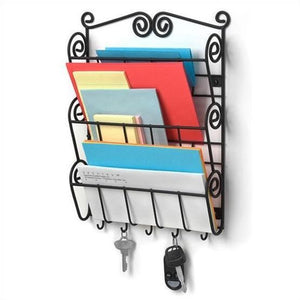 Wall Mounted Letter Holder Mail Sorter in Black Metal w- Key Hooks