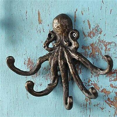 Coastal Marine Ocean Sea Giant Octopus Wall Mount Iron Coat Key Hook Hanger
