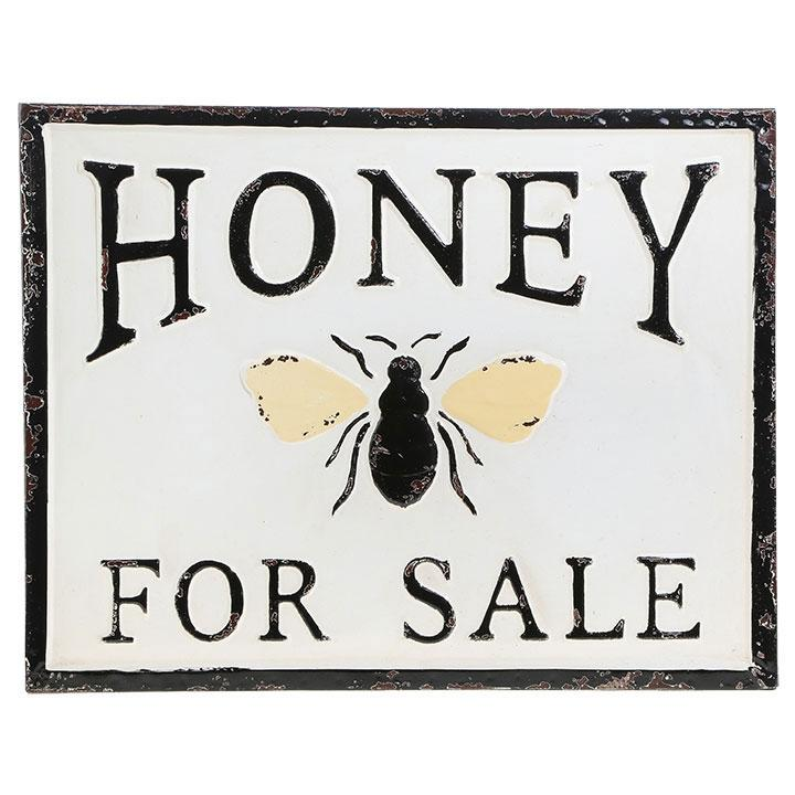 Honey For Sale Distressed Embossed Metal Sign 18-in