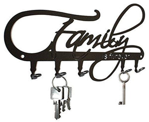 * Family Is Forever * Wall Key Holder, Hooks - Design Black, Metal