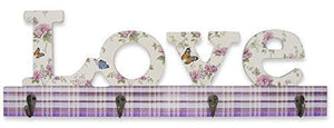 """LOVE"" Wall Key Hook Holder with Butterflies Flowers and Plaid Print Pattern  - 4 Metal Hooks - 17.75 Inch Wide (2151)"