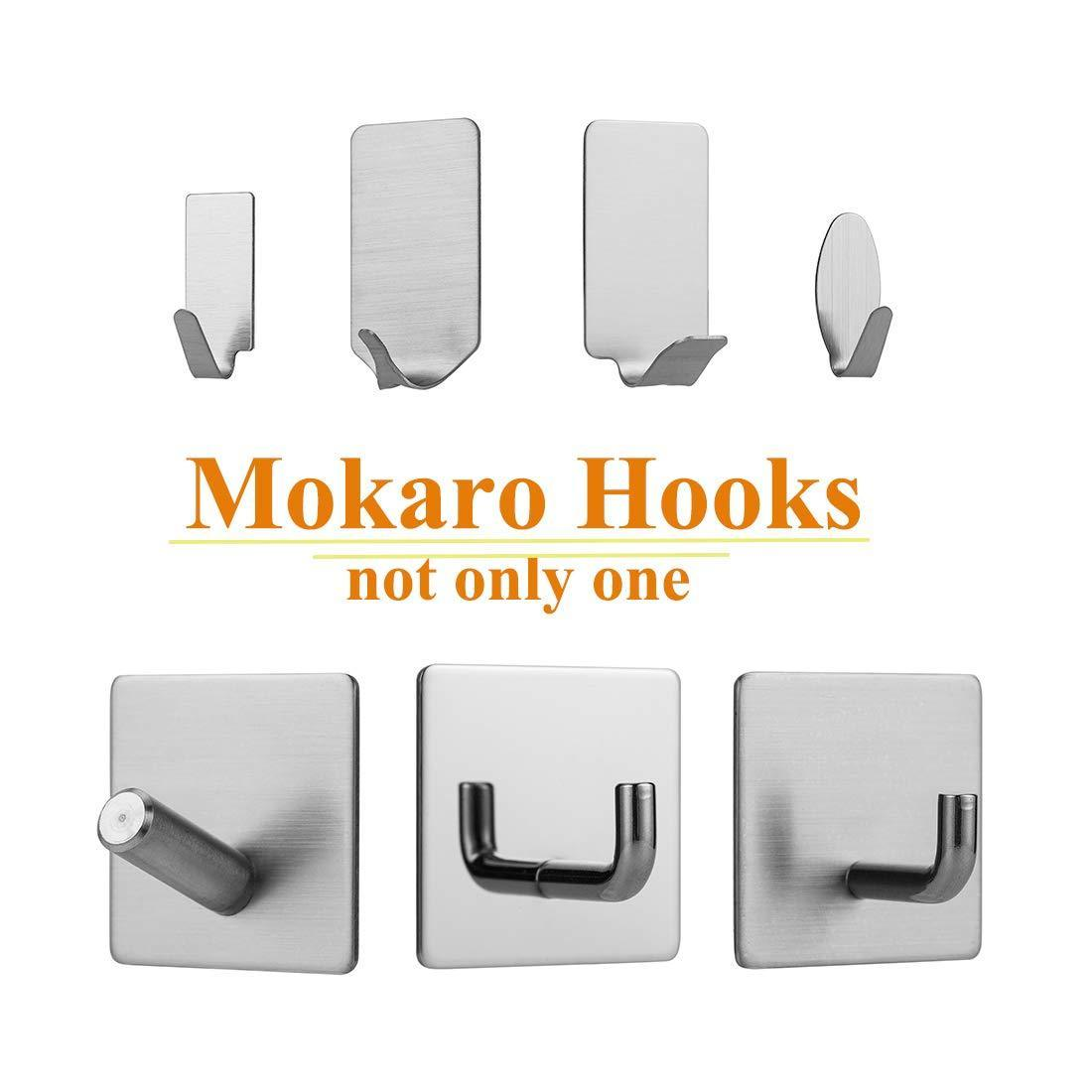 MOKARO Key Hooks Adhesive Brushed Stainless Steel, Mini Sticky Hooks,24-Hooks, Oval