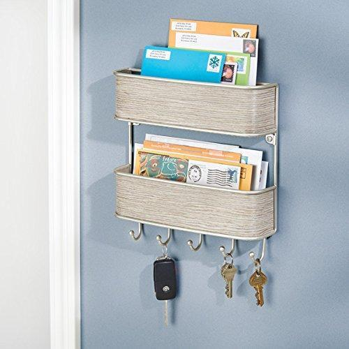 2-Tier Entryway Mail Organizer and Key Rack - Wall Mount, Satin/Gray Wood Finish