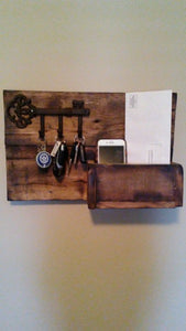 rustic organizer with key hooks.