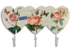 Pink Rose Wall Key Hook Holder with Butterflies Flowers & Vintage European Post Card Letter Pattern - 3 White Metal Hooks - 11.5 Inch Wide(2138)