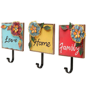 """Family, Home, Love"" Wood & Metal Tropical Flowers Wall Coat/Key Hooks (Set of 3: Red/Yellow/Blue)"