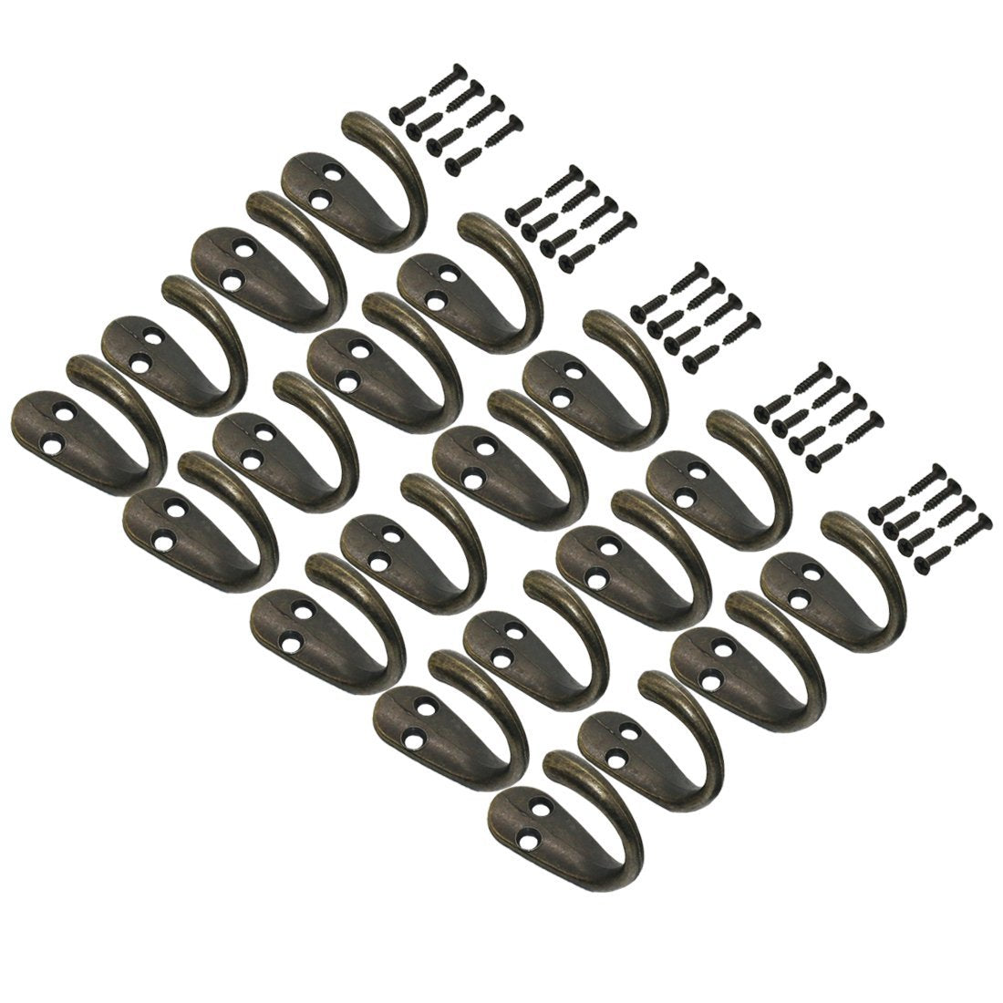 22pcs Vintage Retro Black Robe Hooks Wall Mounted Single Key Hook Hangers with 48pcs Screws