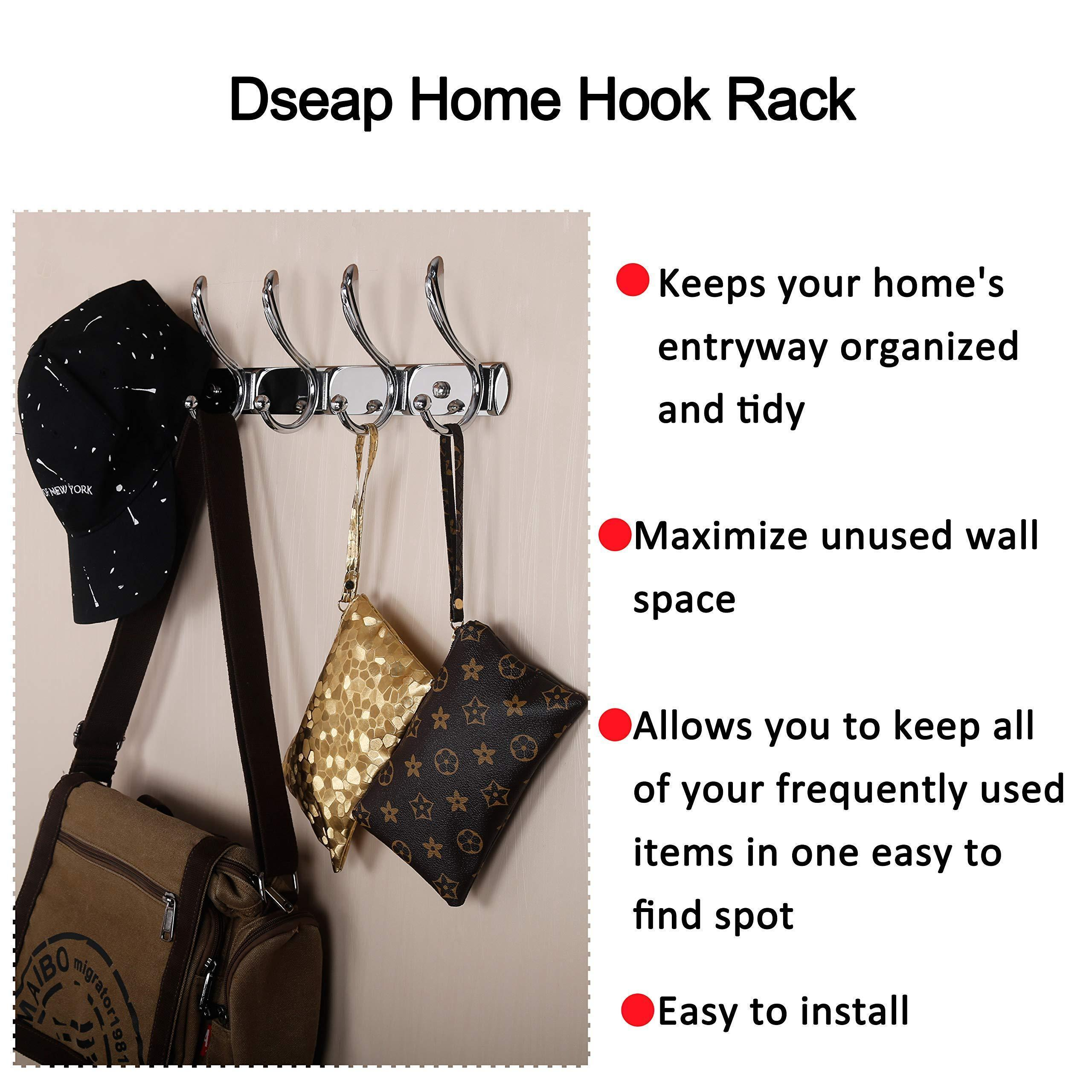 Dseap Coat Rack Wall Mounted, with 5 Jumbo Double Hooks, Heavy Duty, Stainless Steel, Metal Coat Hook, Hanging Clothes Towel Hat Robes, for Mudroom Bathroom Entryway, Chromed,2 Packs